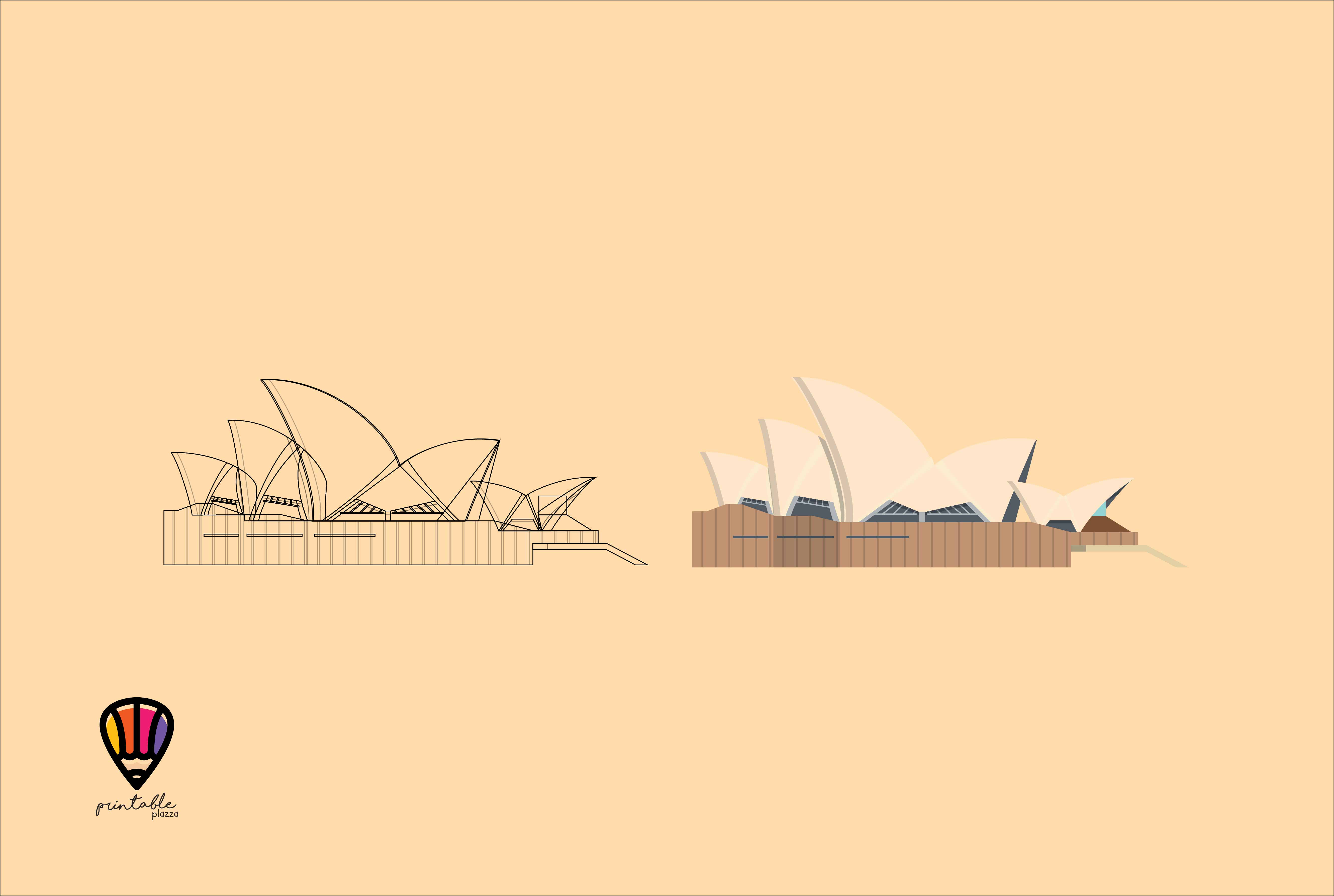 Download Free Sydney Opera House Graphic By Printablesplazza Creative Fabrica for Cricut Explore, Silhouette and other cutting machines.