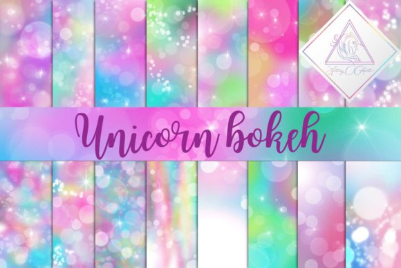 Print on Demand: Unicorn Bokeh Digital Paper Grafik Hintegründe von fantasycliparts