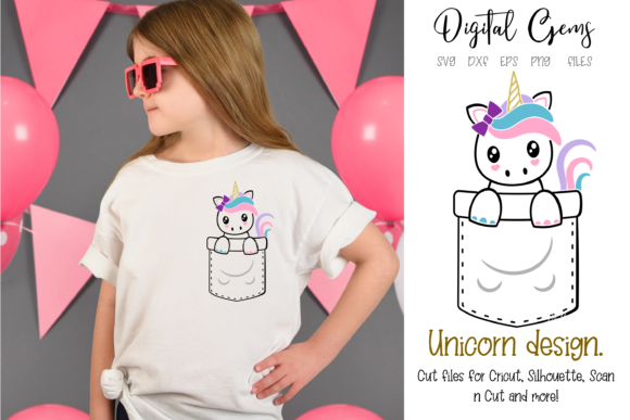 Download Free Unicorn Pocket Design Graphic By Digital Gems Creative Fabrica for Cricut Explore, Silhouette and other cutting machines.