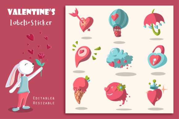 Print on Demand: Valentine's Day Labels and Stickers Graphic Illustrations By jann