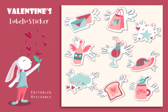 Print on Demand: Valentine's Day Labels and Stickers Graphic Illustrations By jannta