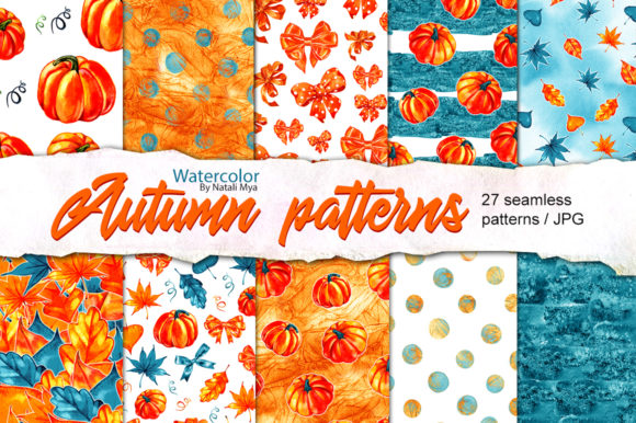 Watercolor Autumn Seamless Patterns Graphic Illustrations By NataliMyaStore