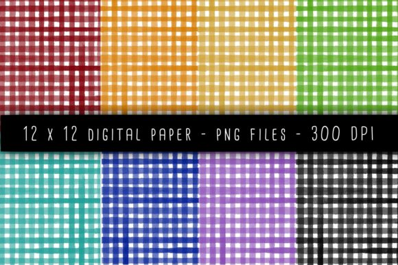 Print on Demand: Watercolor Gingham Graphic Backgrounds By RoughDraftDesign