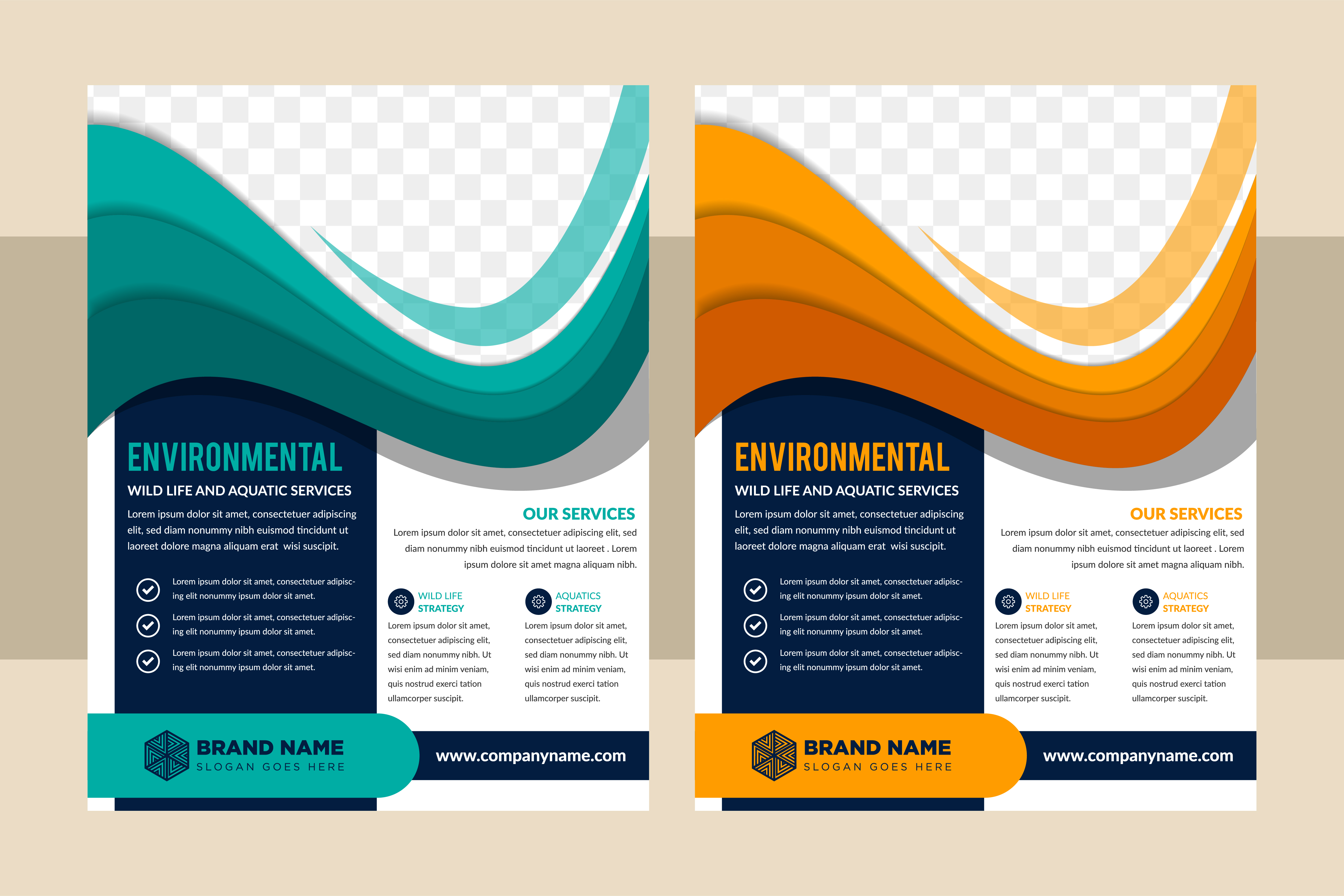 Download Free Blue Orange Flyer Environmental Wave Graphic By Noory Shopper for Cricut Explore, Silhouette and other cutting machines.