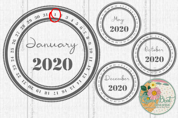 Print on Demand: 2020 Date Stamps Graphic Web Elements By QueenBrat Digital Designs