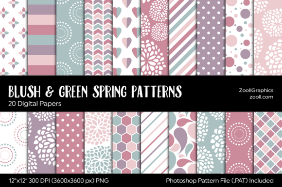 Blush & Green Spring Digital Papers Graphic Patterns By ZoollGraphics
