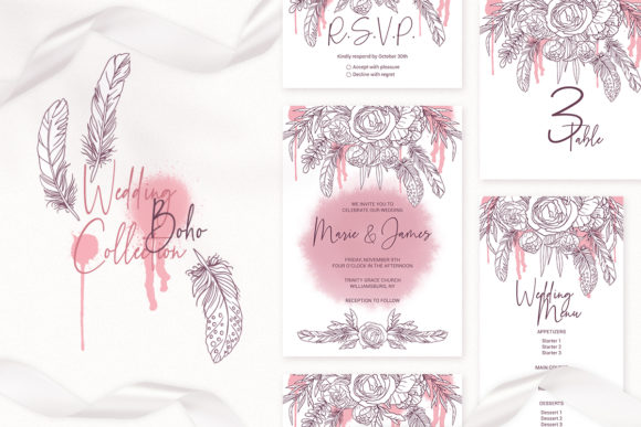 Print on Demand: Boho Wedding Cards Invitation Template Graphic Print Templates By PawStudio