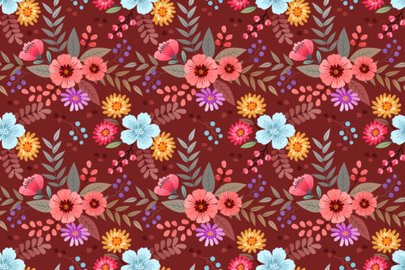 Download Free Colorful Hand Draw Flowers Pattern Graphic By Ranger262 for Cricut Explore, Silhouette and other cutting machines.