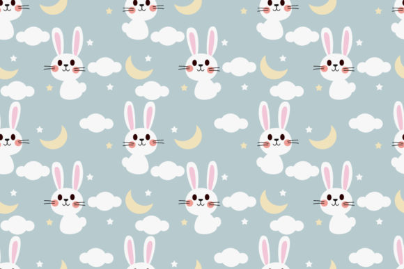 Cute Bunny In Night Sky Seamless Pattern Graphic By Thanaporn