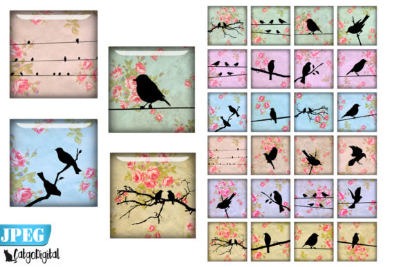 Download Free Digital Collage Sheet Bird Silhouettes Graphic By Catgodigital for Cricut Explore, Silhouette and other cutting machines.