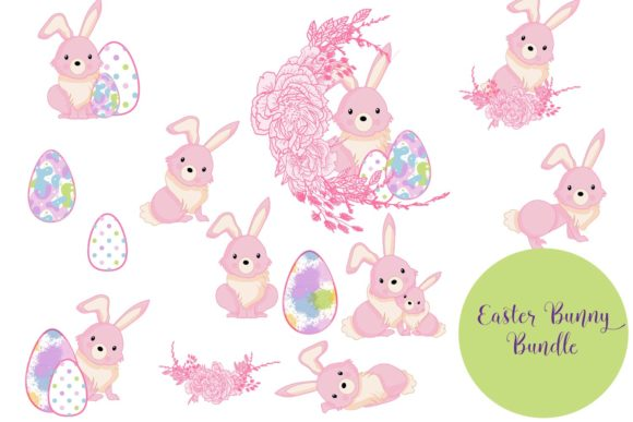 Download Free Easter Bunny Bundle Graphic By Sintegra Creative Fabrica for Cricut Explore, Silhouette and other cutting machines.