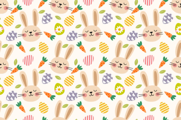 Download Free Easter Bunny Seamless Pattern Graphic By Thanaporn Pinp for Cricut Explore, Silhouette and other cutting machines.