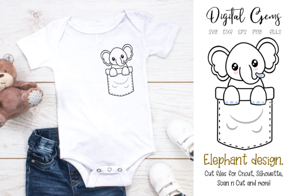 Elephant Pocket Design Graphic Crafts By Digital Gems