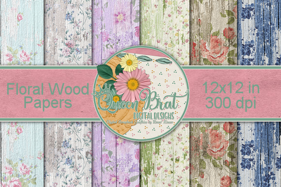 Print on Demand: Floral Wood Background Pack Gráfico Fondos Por QueenBrat Digital Designs