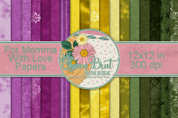 Print on Demand: For Momma with Love Backgrounds Graphic Backgrounds By QueenBrat Digital Designs