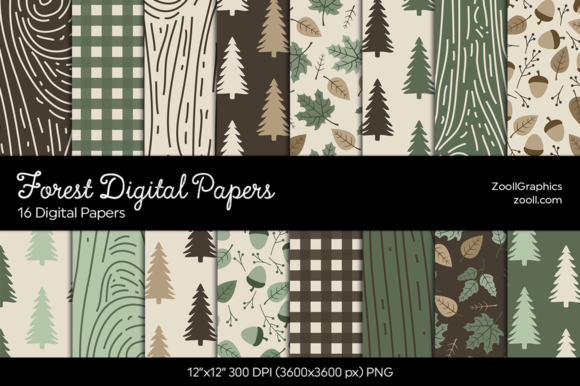 Forest Digital Papers Graphic Patterns By ZoollGraphics