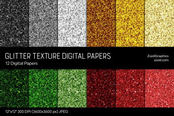 Glitter Digital Papers Graphic Textures By ZoollGraphics