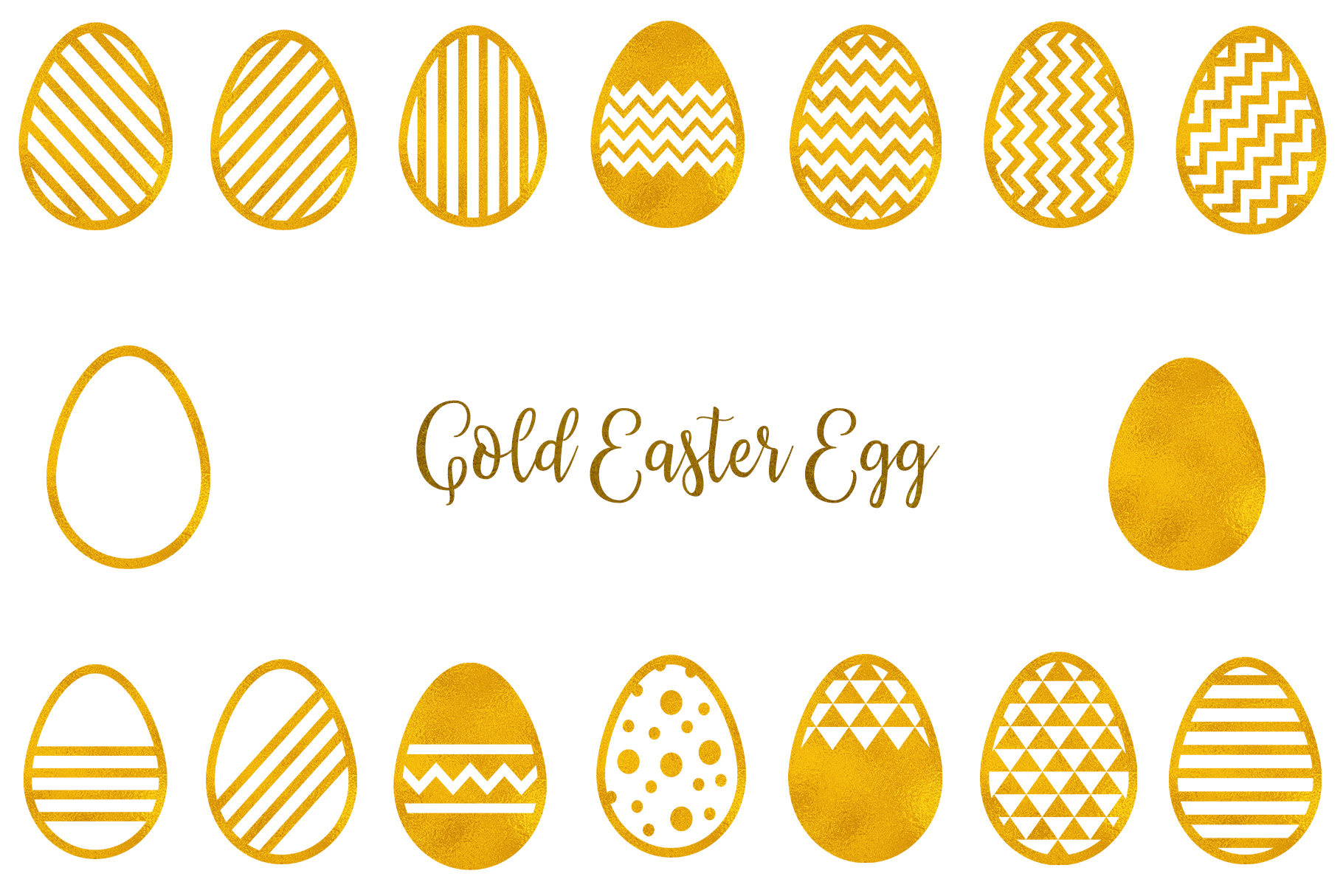 Download Free Gold Easter Egg Clipart Graphic By Bonadesigns Creative Fabrica for Cricut Explore, Silhouette and other cutting machines.