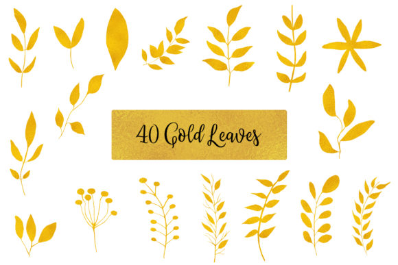 Gold Leaves Floral Clipart Graphic Objects By BonaDesigns