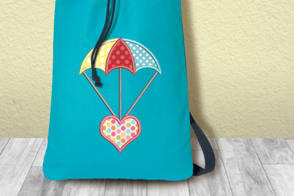 Heart Parachute Applique Valentine's Day Embroidery Design By DesignedByGeeks - Image 1