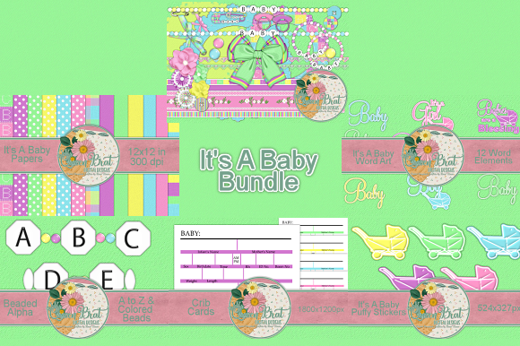 Print on Demand: It's a Baby Collection Graphic Web Elements By QueenBrat Digital Designs