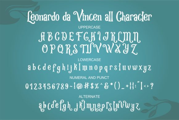 Print on Demand: Leonardo Da Vincen Display Font By ergibi studio - Image 5