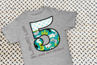Level Up 5th Birthday Applique Birthdays Embroidery Design By DesignedByGeeks