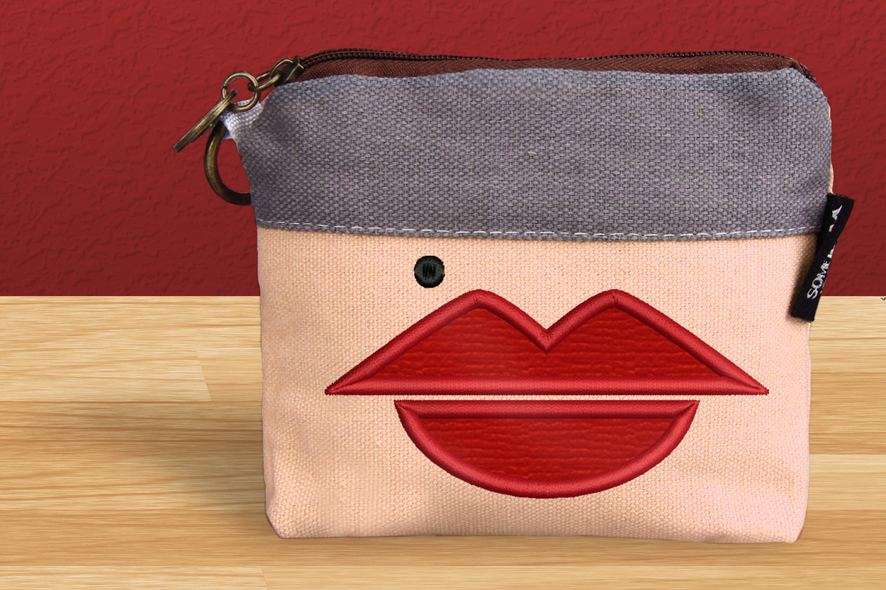 Lips And Beauty Mark Applique Creative Fabrica