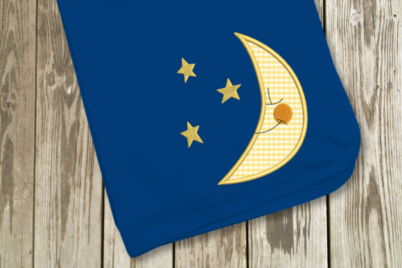 Moon and Stars Applique Nursery Embroidery Design By DesignedByGeeks - Image 1