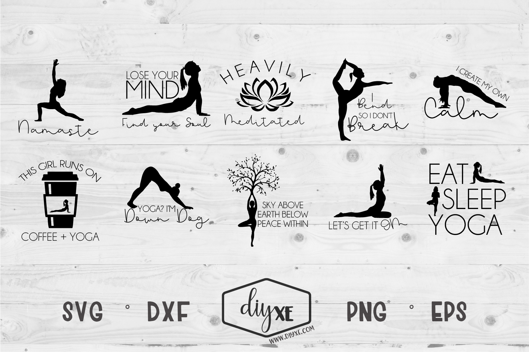 Download Free Namaste Yoga Bundle Graphic By Sheryl Holst Creative Fabrica for Cricut Explore, Silhouette and other cutting machines.