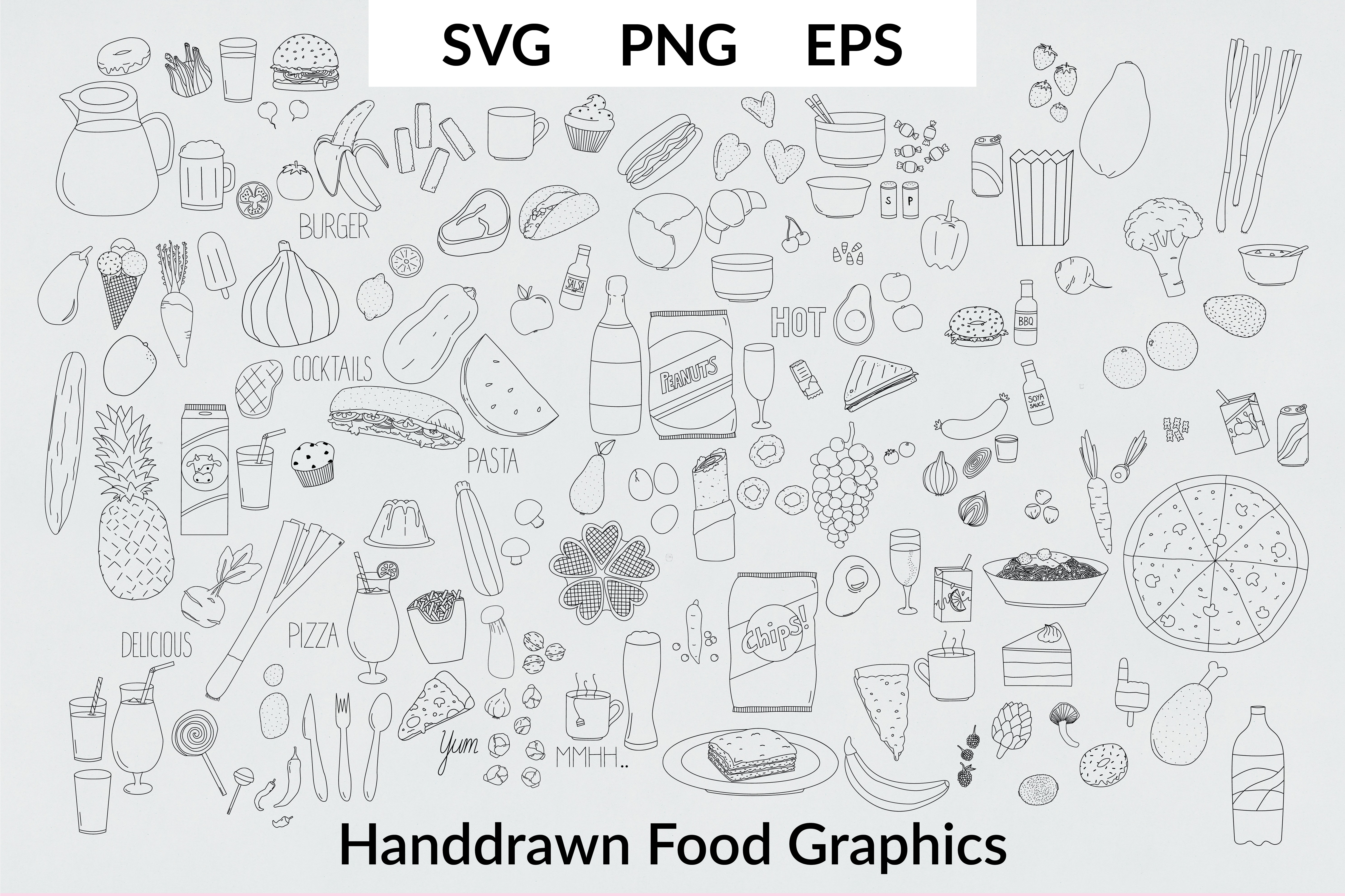Download Free Over 130 Cute Handdrawn Food Graphics Graphic By Liebreizdesign SVG Cut Files