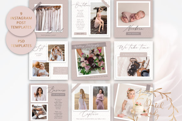 Print on Demand: PSD Instagram Post Template Set #5 Graphic Presentation Templates By daphnepopuliers