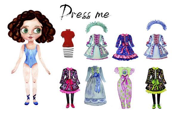 Download Free Paper Doll With Clothes For Changes Graphic By Elenazlataart for Cricut Explore, Silhouette and other cutting machines.