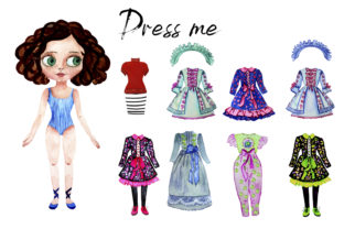 Print on Demand: Paper Doll with Clothes for Changes Graphic Illustrations By ElenaZlataArt