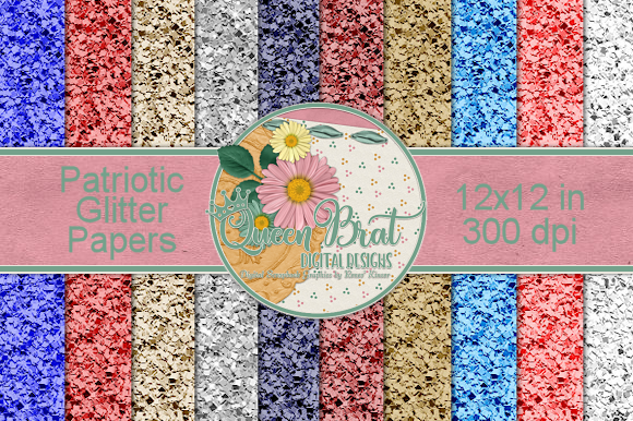 Print on Demand: Patriotic Glitter Papers Graphic Backgrounds By QueenBrat Digital Designs