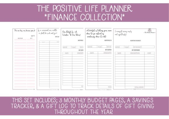 Print on Demand: Positive Planner Finance Pages Graphic Print Templates By capeairforce - Image 1