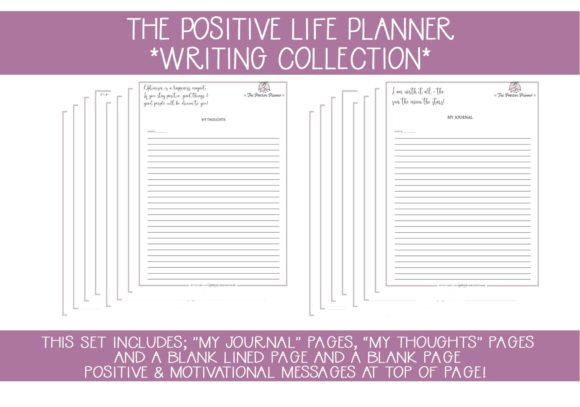Print on Demand: Positive Planner Writing - Journal Pages Grafik Druck-Templates von capeairforce