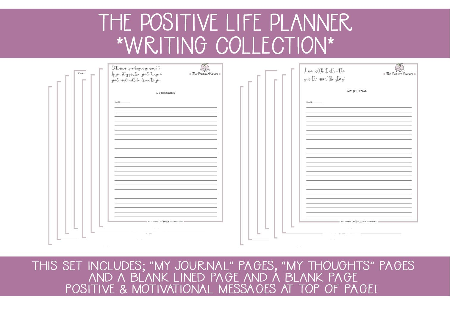 Download Free Positive Planner Writing Journal Pages Grafico Por for Cricut Explore, Silhouette and other cutting machines.