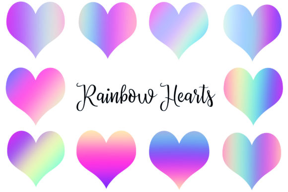 Rainbow Heart Clipart Graphic Objects By BonaDesigns
