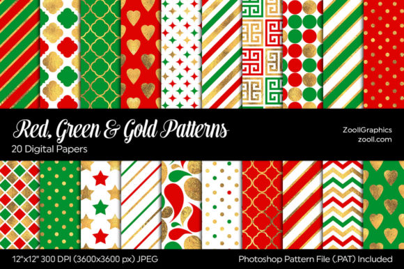 Red, Green & Gold Digital Papers Graphic Patterns By ZoollGraphics