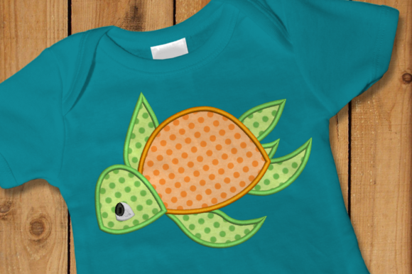 Sea Turtle Applique Embroidery Reptiles Diseños de bordado Por DesignedByGeeks