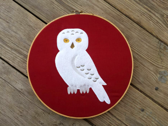 Snowy Owl Applique Birds Embroidery Design By DesignedByGeeks