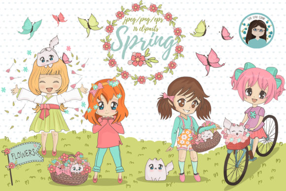 Spring Chibi Character Cliparts Graphic Illustrations By CuteLittleClipart