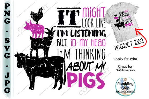 Thinking About My Pigs Graphic Illustrations By RamblingBoho
