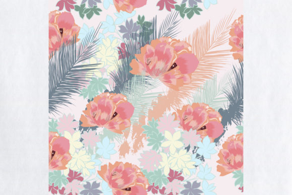 Tropical Vector Pattern Pink Flowers Graphic Patterns By fleurartmariia
