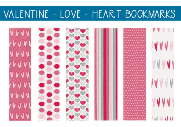 Download Free Valentine Love Hearts Bookmarks 1 Graphic By Capeairforce for Cricut Explore, Silhouette and other cutting machines.