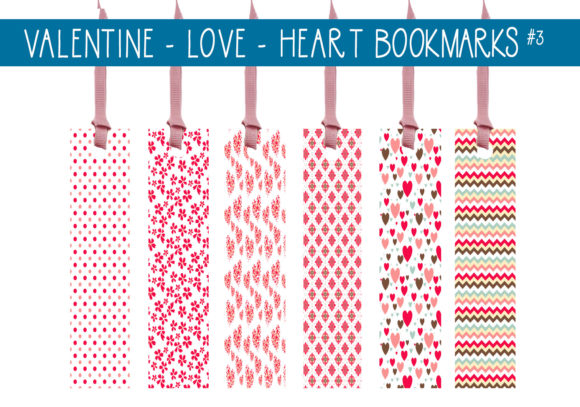 Print on Demand: Valentine Love Hearts Bookmarks   #3 Graphic Print Templates By capeairforce