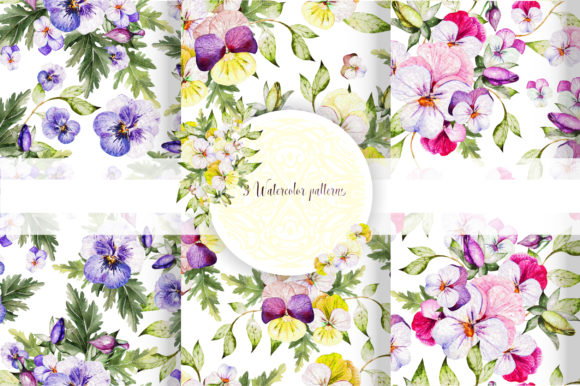 Watercolor Pansy Flowers Graphic Objects By Knopazyzy - Image 13