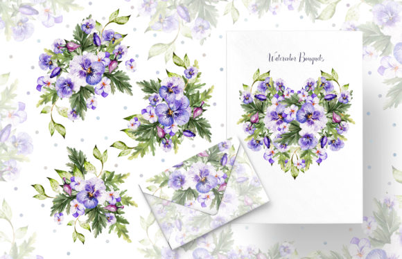 Watercolor Pansy Flowers Graphic Objects By Knopazyzy - Image 4