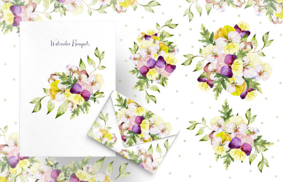 Watercolor Pansy Flowers Graphic Objects By Knopazyzy - Image 5